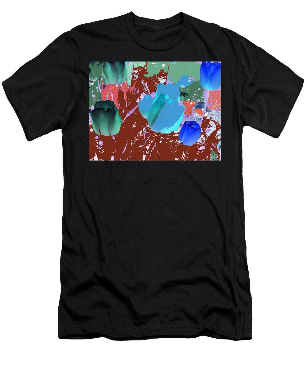 Tulipani Men's T-Shirt (Athletic Fit) featuring the digital art Tulipani Blu E Corallo by Alessandra Bisi