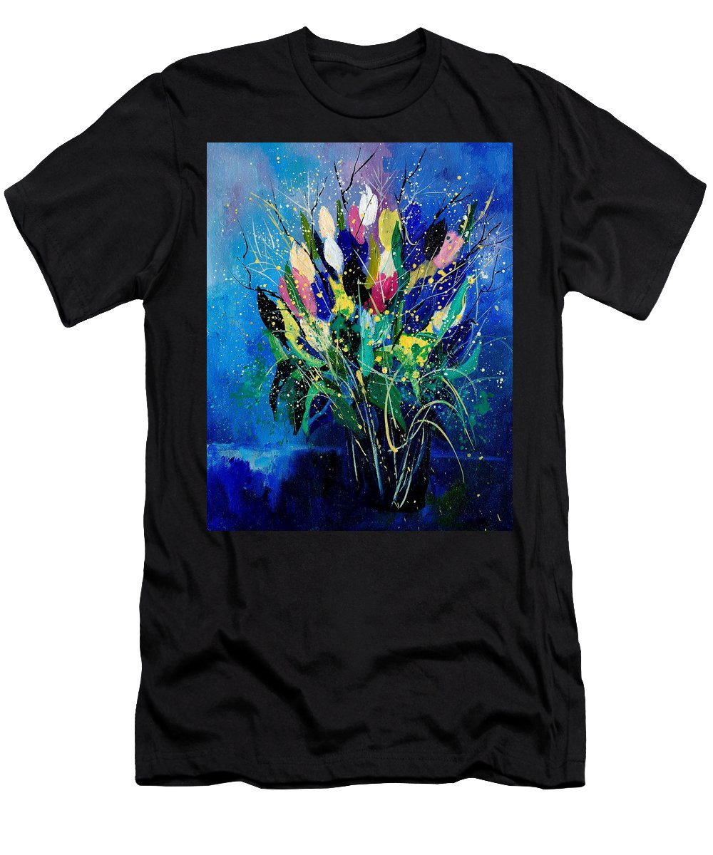 Flowers Men's T-Shirt (Athletic Fit) featuring the painting Tulips 45 by Pol Ledent