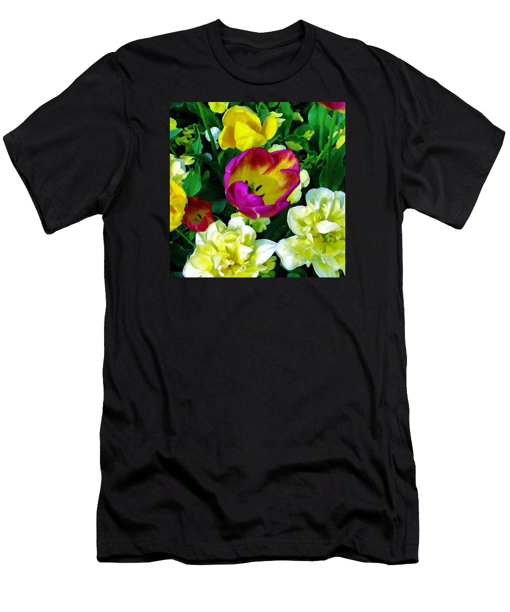 Flowers Men's T-Shirt (Athletic Fit) featuring the painting Tulips And Flowers by Susanna Katherine