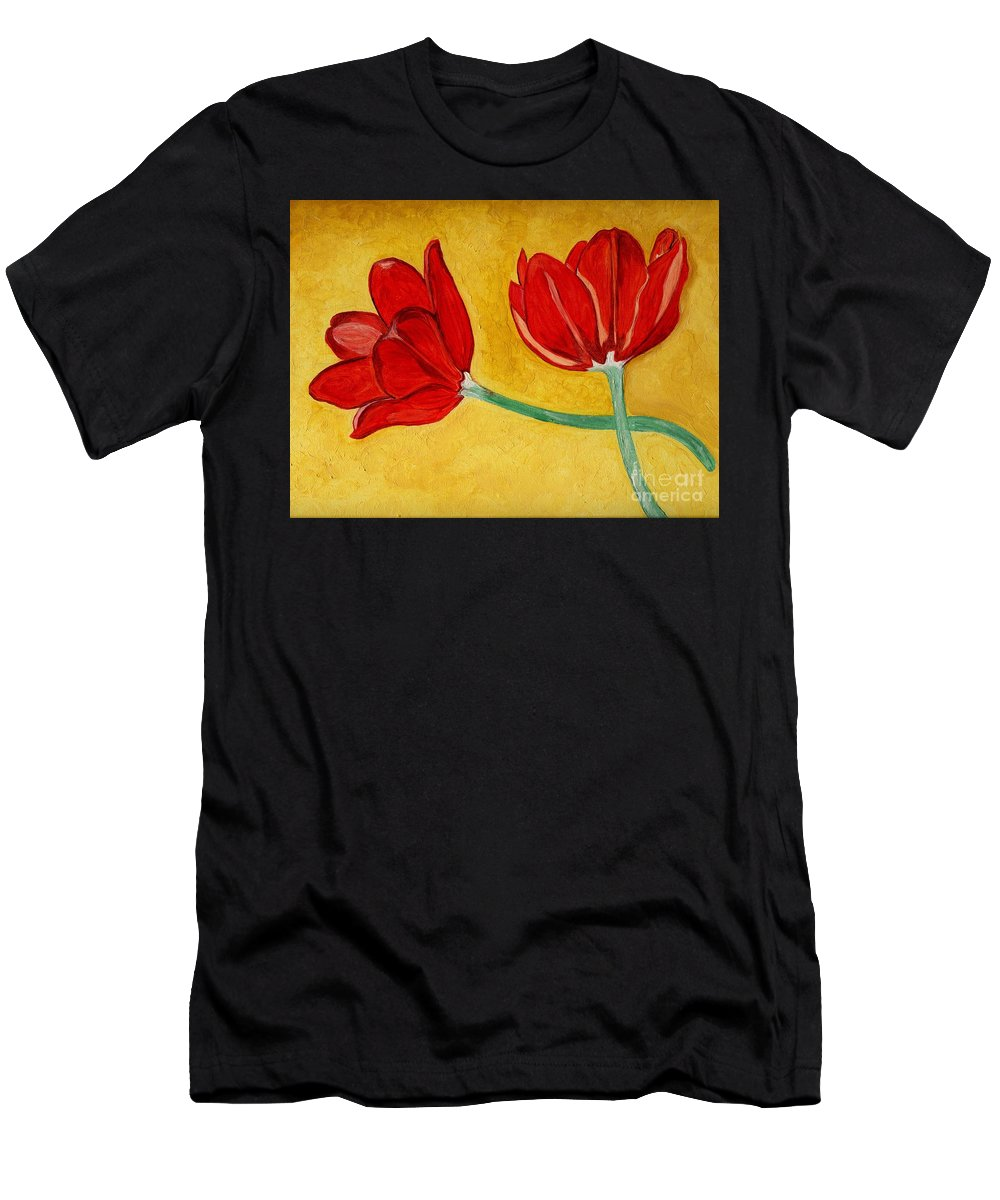 Tulips Men's T-Shirt (Athletic Fit) featuring the painting Tulips And Love Happy Together by Anne Gitto