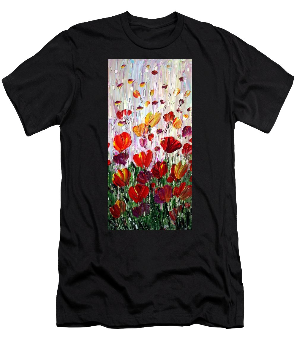 Flowers Men's T-Shirt (Athletic Fit) featuring the painting Tulips Flowers Garden Seria by Luiza Vizoli