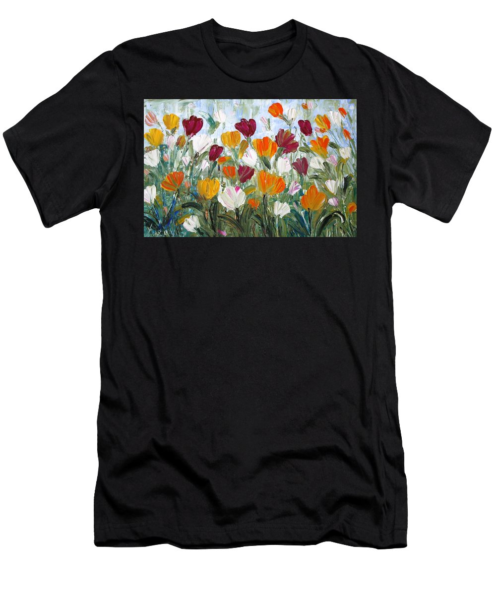 Oil Men's T-Shirt (Athletic Fit) featuring the painting Tulips Garden by Luiza Vizoli