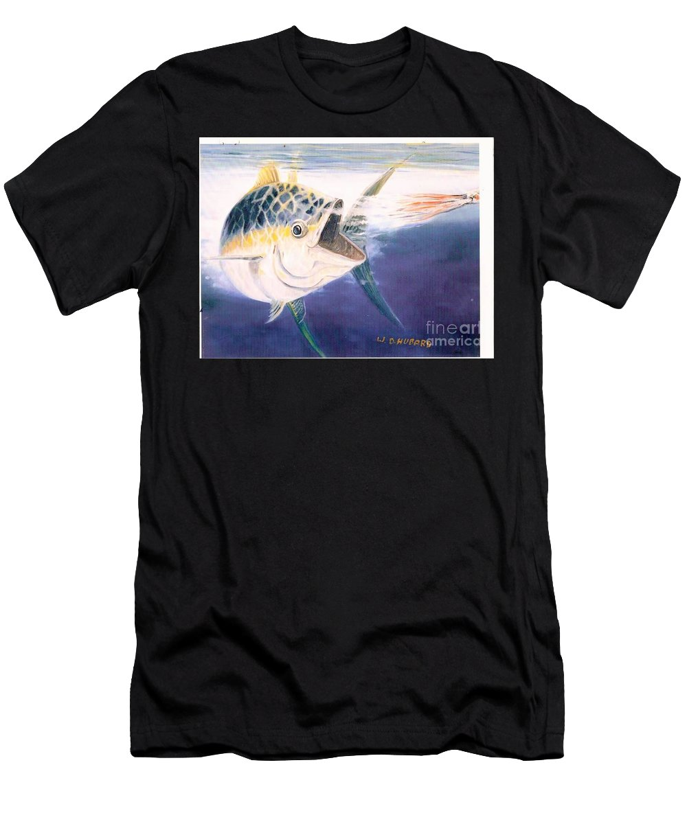 Fishing Men's T-Shirt (Athletic Fit) featuring the painting Tuna To The Lure by Bill Hubbard