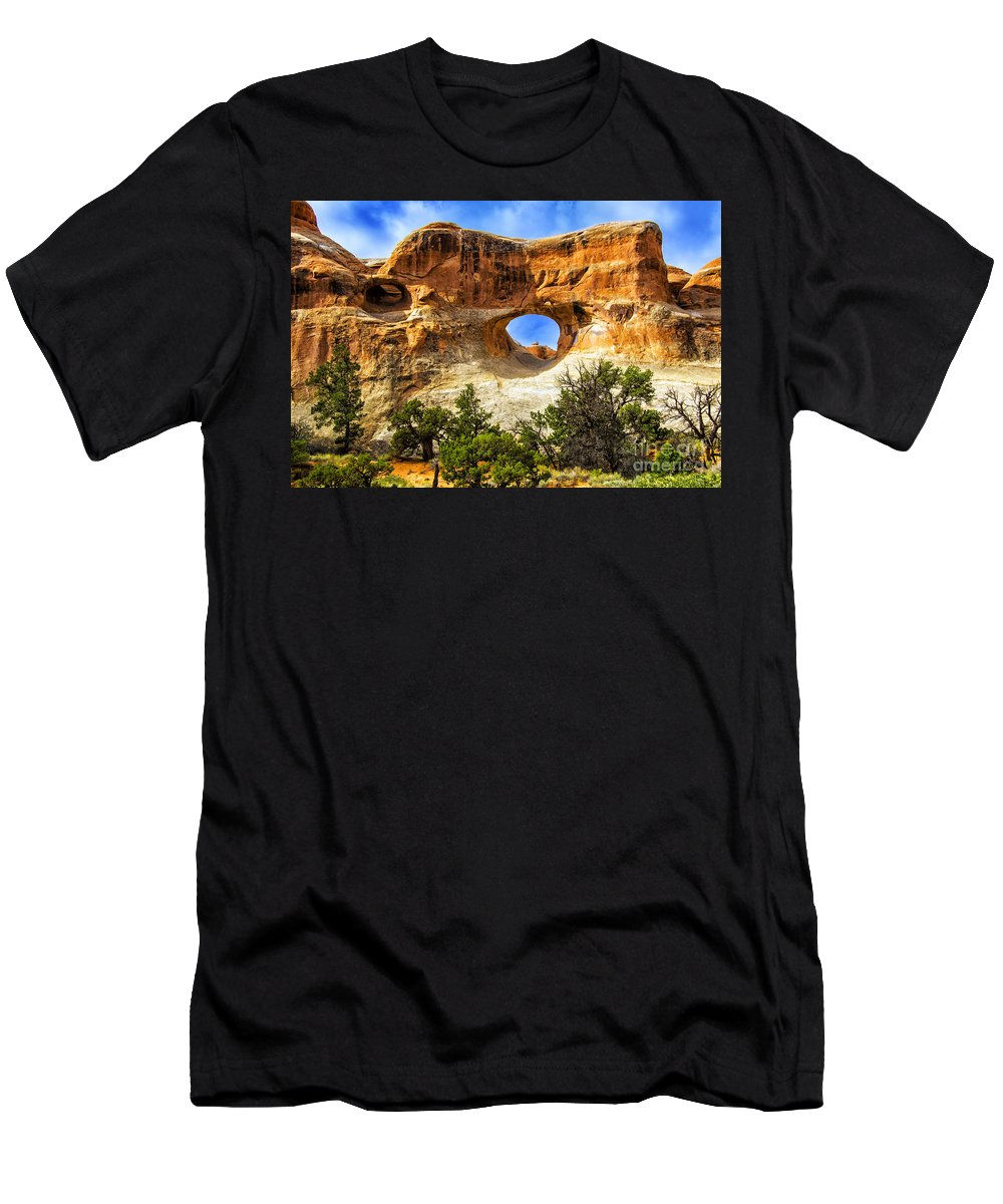 Arches Men's T-Shirt (Athletic Fit) featuring the photograph Tunnel Arch by Roberta Bragan