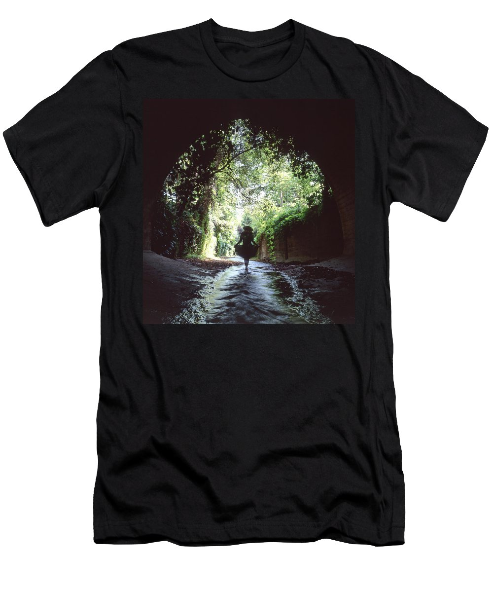 Peaceful Men's T-Shirt (Athletic Fit) featuring the photograph Tunnel Walk by Steve Williams