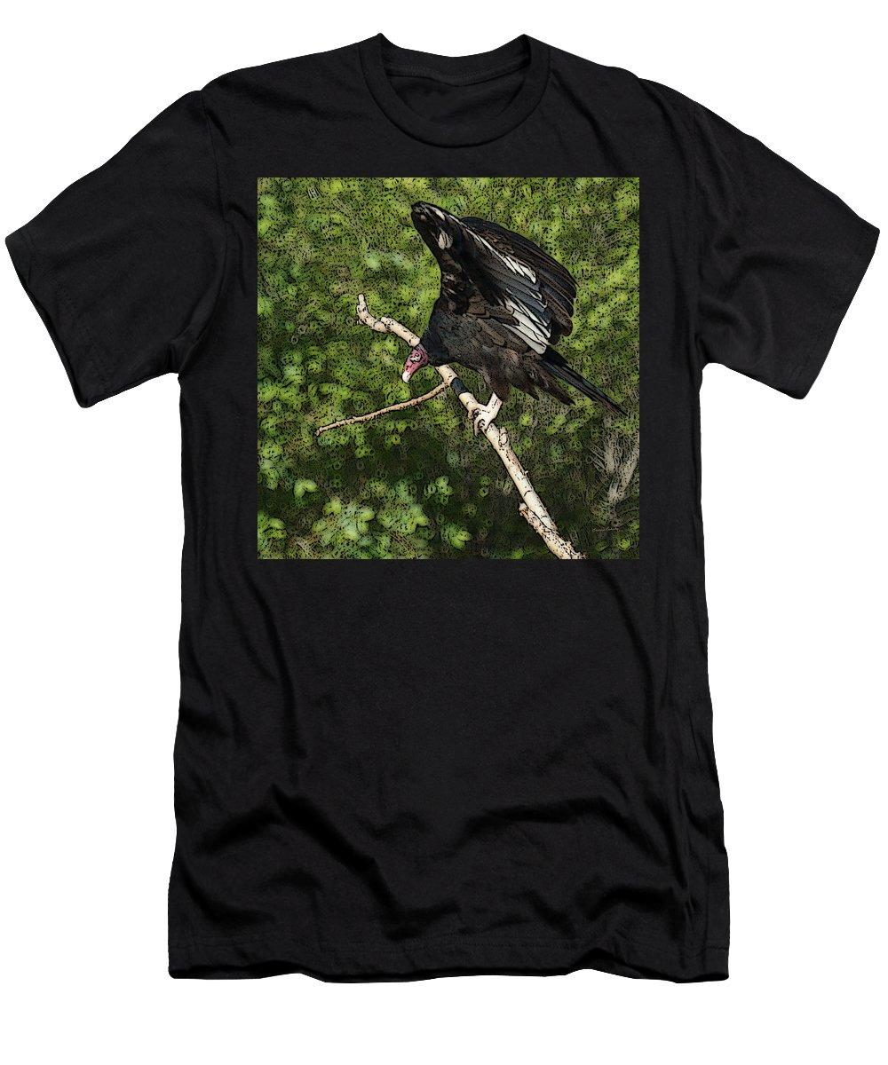 Turkey Vulture Men's T-Shirt (Athletic Fit) featuring the digital art Turkey Vulture by Ernie Echols