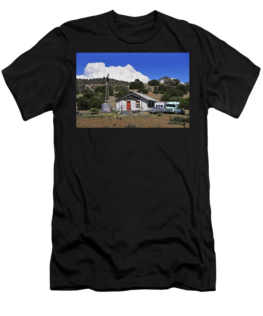 Skip Hunt Men's T-Shirt (Athletic Fit) featuring the photograph Turquoise Bus by Skip Hunt