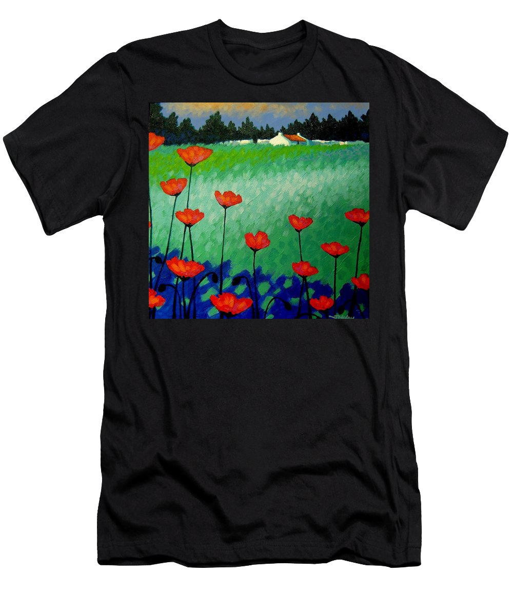 Turquoise Men's T-Shirt (Athletic Fit) featuring the painting Turquoise Meadow by John Nolan