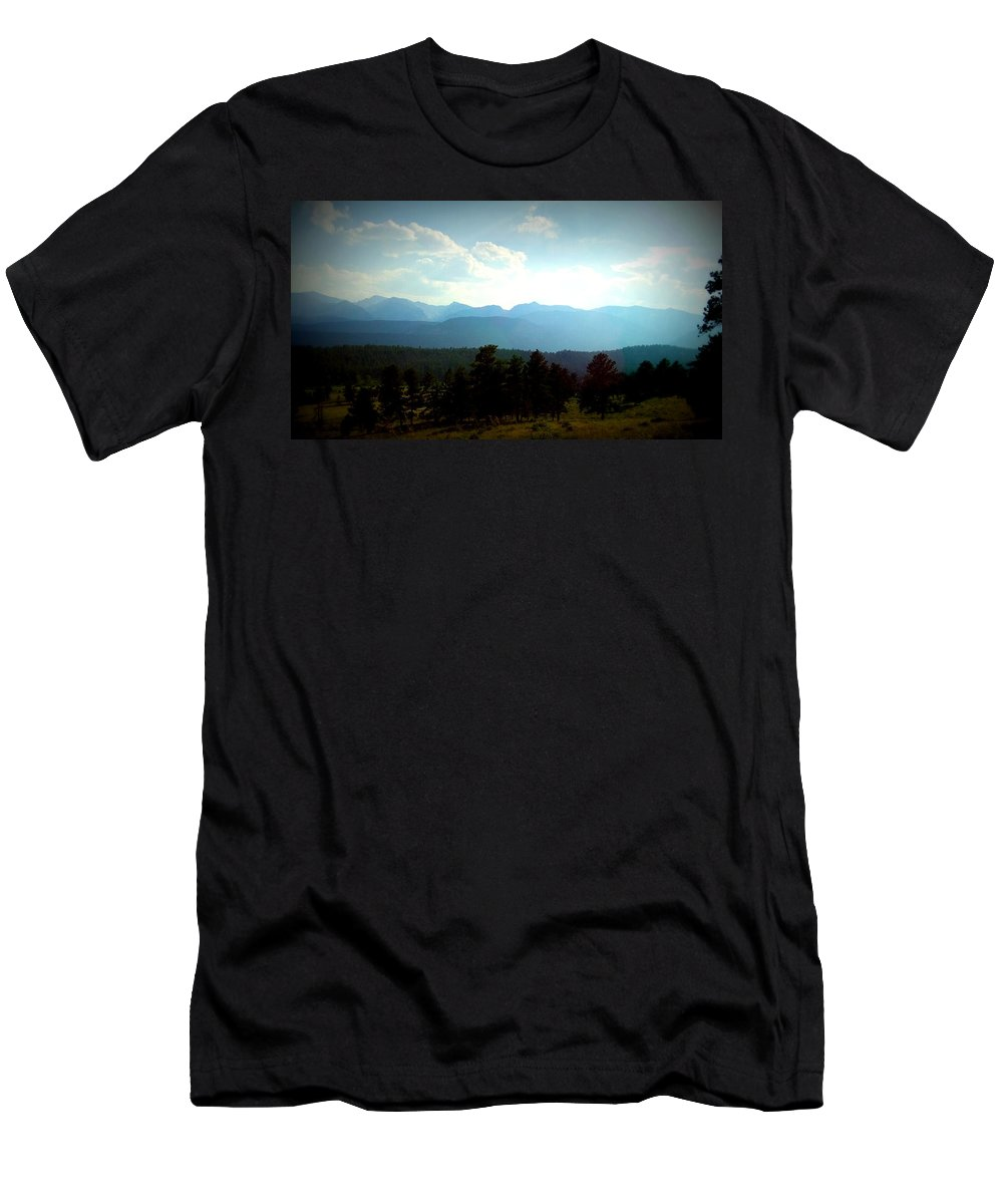 Blue Men's T-Shirt (Athletic Fit) featuring the photograph Turquoise Mountain X by Lesli Sherwin