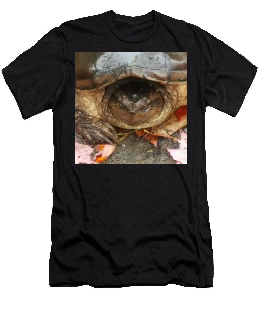 Turtle Men's T-Shirt (Athletic Fit) featuring the photograph Turtle In Repose by Kevin Humphrey