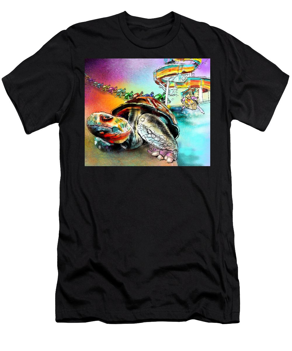 Turtle Men's T-Shirt (Athletic Fit) featuring the painting Turtle Slide by Miki De Goodaboom