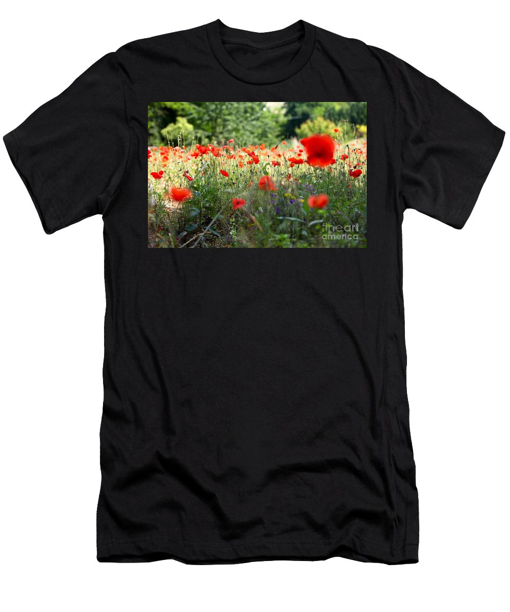 Poppies Men's T-Shirt (Athletic Fit) featuring the photograph Tuscan Poppies by Nadine Rippelmeyer