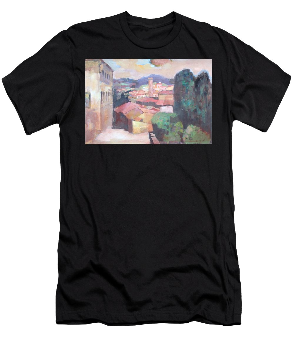 Italy Men's T-Shirt (Athletic Fit) featuring the painting Tuscany by Murat Kaboulov