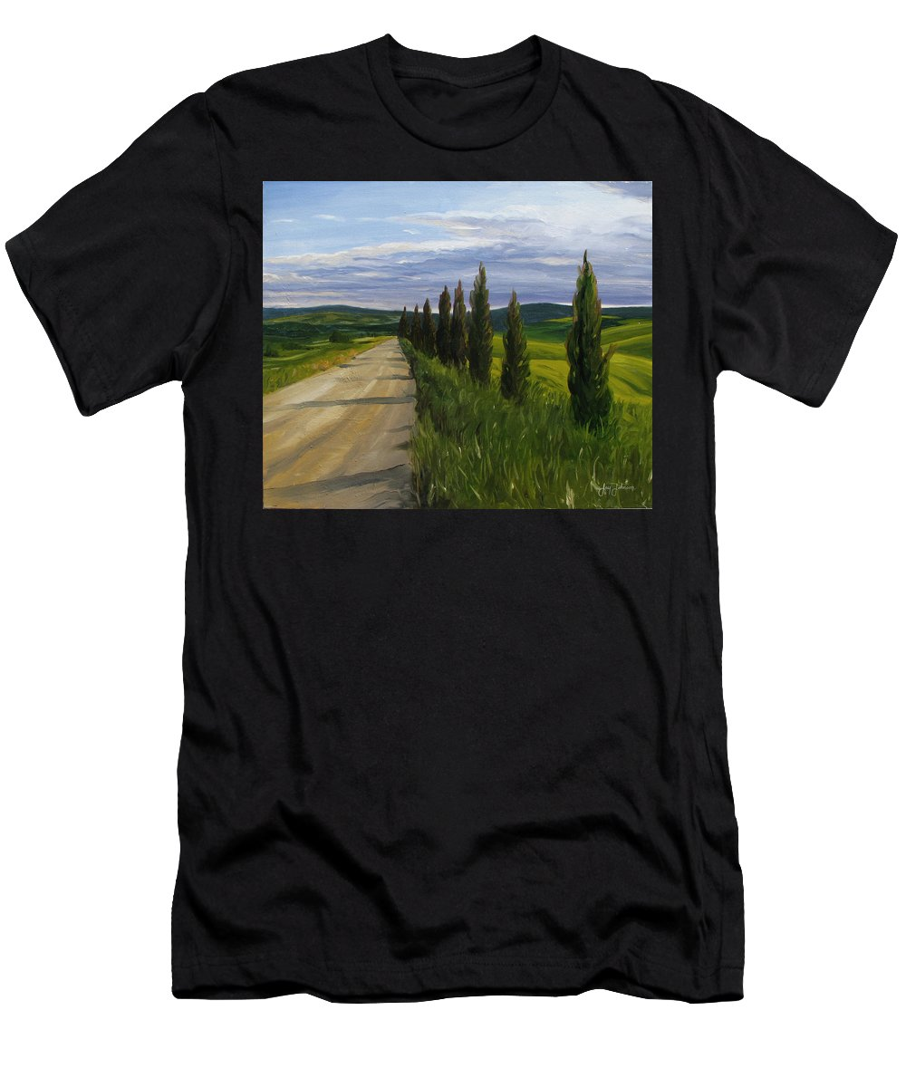 Men's T-Shirt (Athletic Fit) featuring the painting Tuscany Road by Jay Johnson