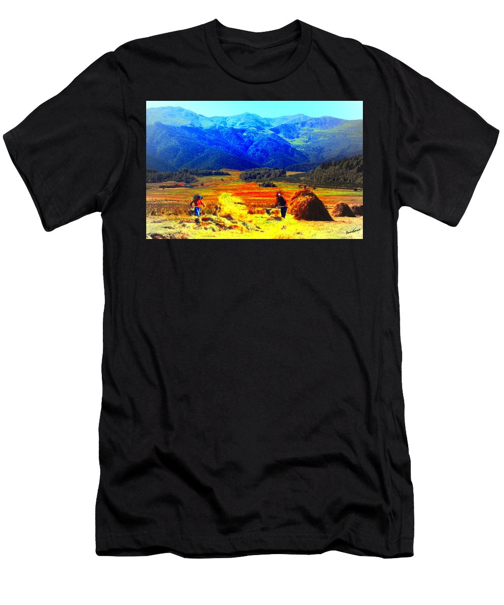 Hay Making Men's T-Shirt (Athletic Fit) featuring the painting Tusheti Hay Makers IIi by Anastasia Savage Ealy