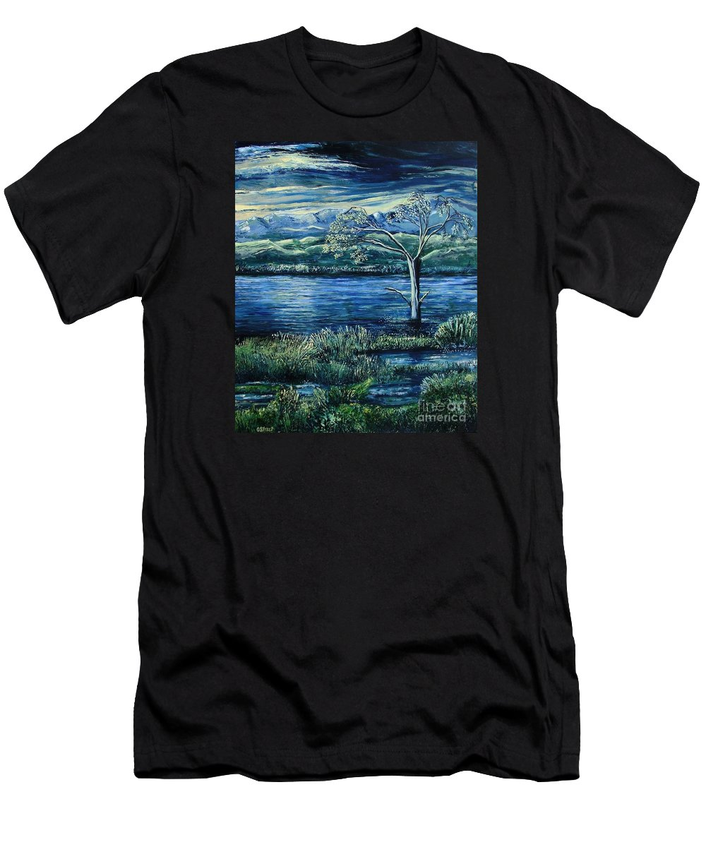 Landscape Men's T-Shirt (Athletic Fit) featuring the painting Twilight At The River by Caroline Street