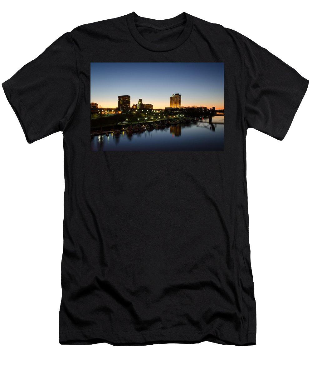 Augusta Ga Georgia Riverfront Water Savannah River Twilight Sunset Golden Hour Men's T-Shirt (Athletic Fit) featuring the photograph Twilight Augusta by John Kirkland