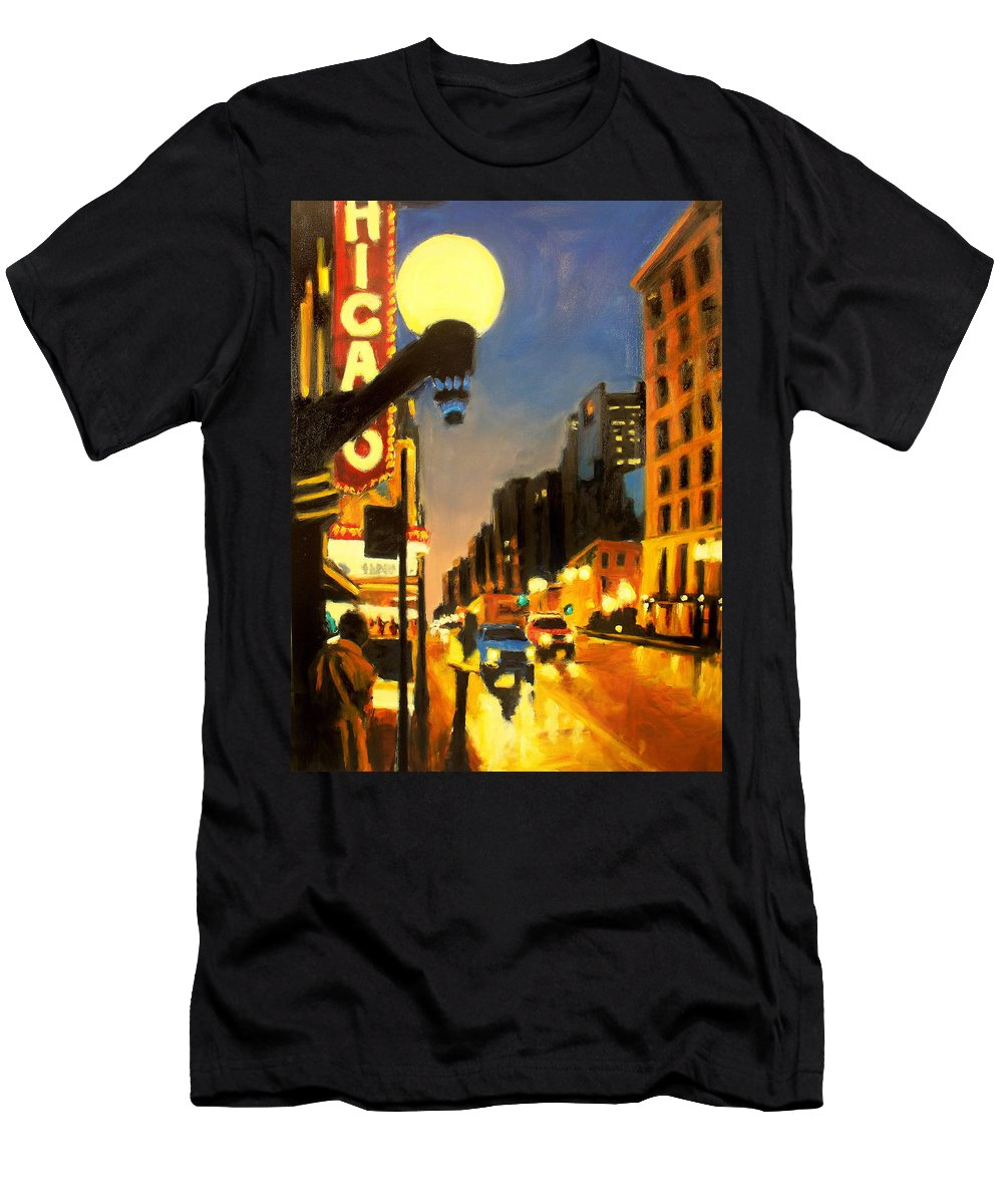 Rob Reeves Men's T-Shirt (Athletic Fit) featuring the painting Twilight In Chicago - The Watcher by Robert Reeves