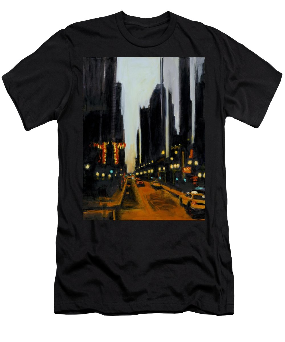 Rob Reeves Men's T-Shirt (Athletic Fit) featuring the painting Twilight In Chicago by Robert Reeves