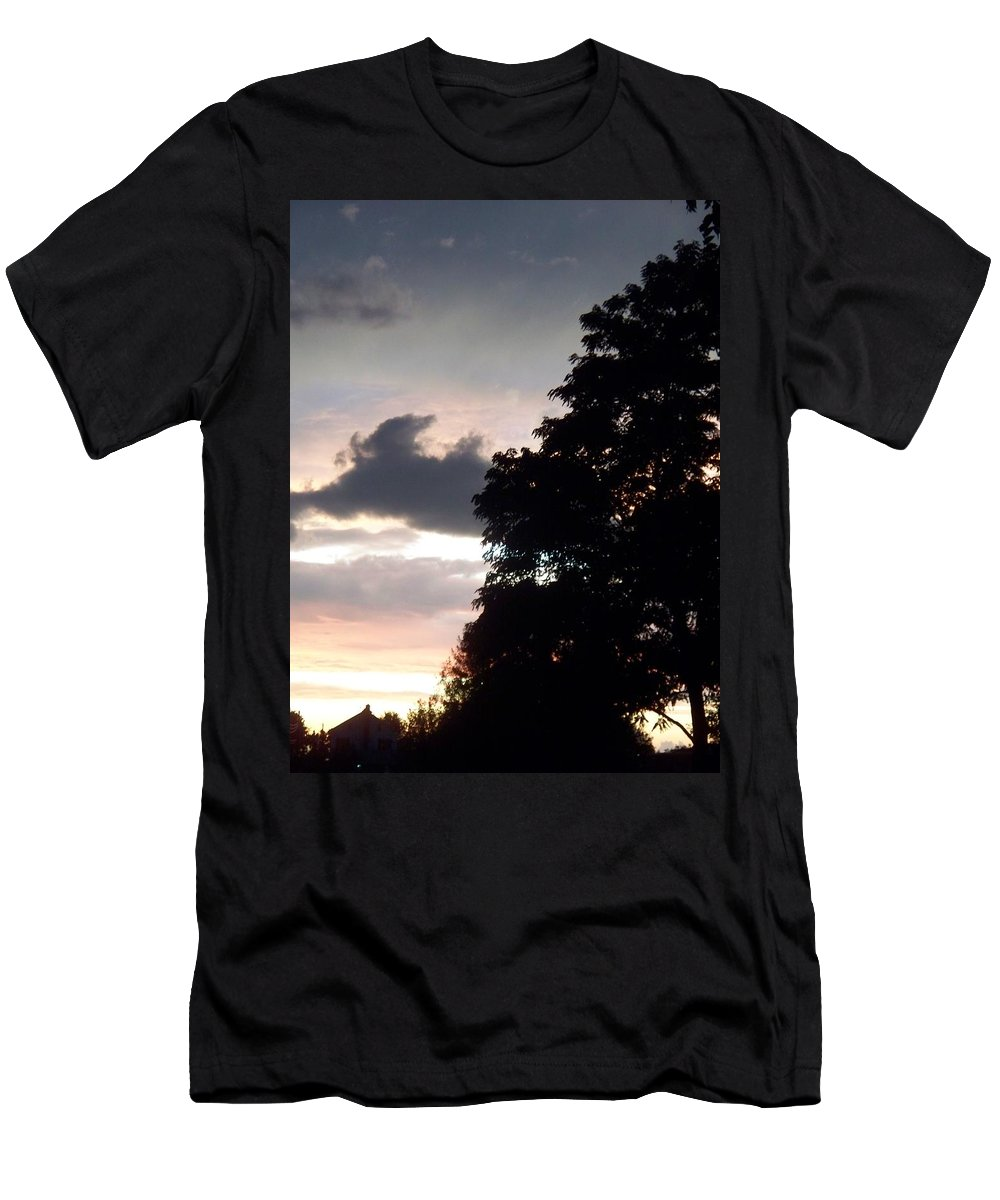 Twilight Men's T-Shirt (Athletic Fit) featuring the painting Twilight Landscape by Eric Schiabor