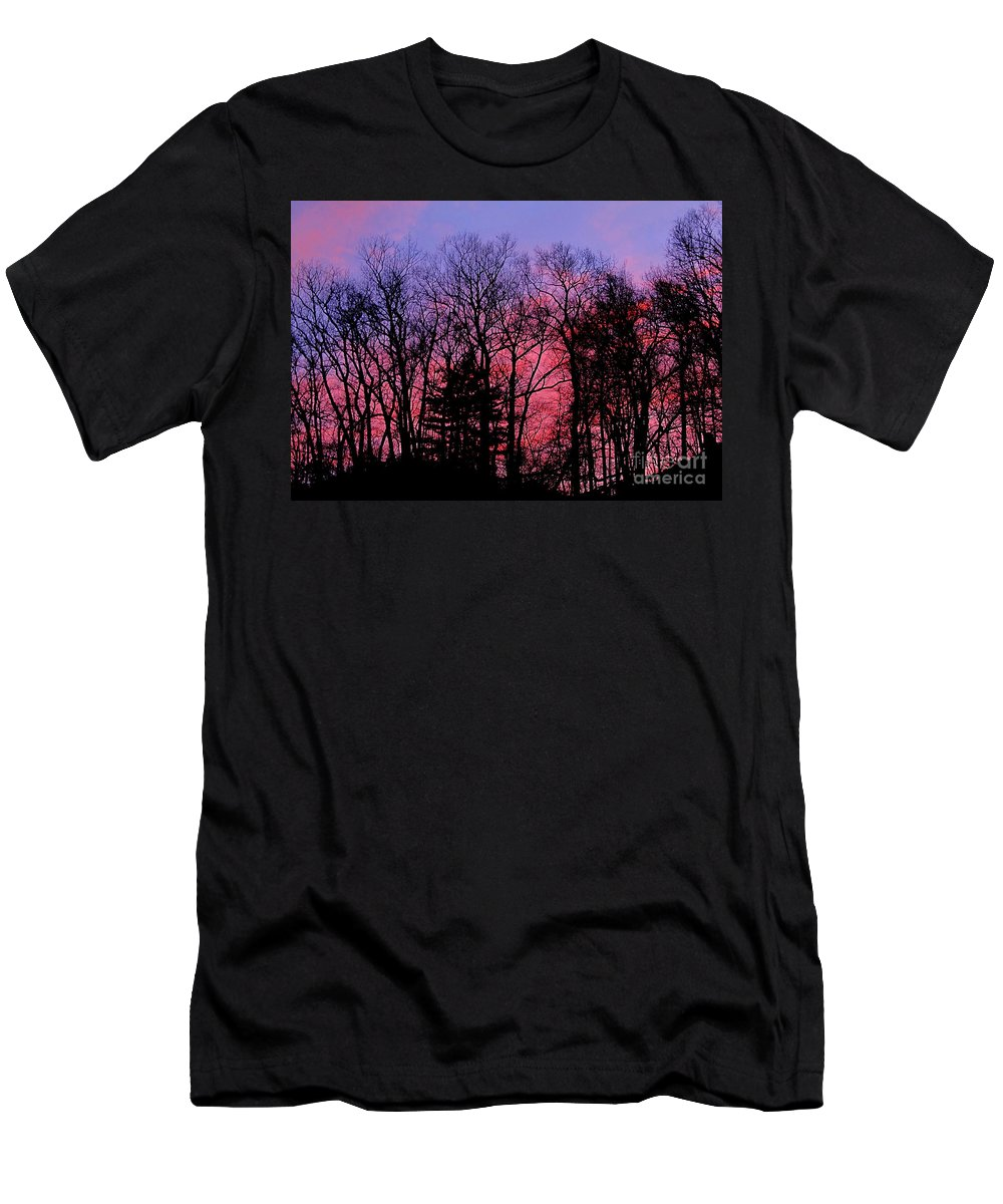Twilight Trees Forest Sunsets Silhouette Nature Prints Natural Landscapes Skyscapes Colorful Skies Pink And Purple Clouds Men's T-Shirt (Athletic Fit) featuring the photograph Twilight Trees by Joshua Bales