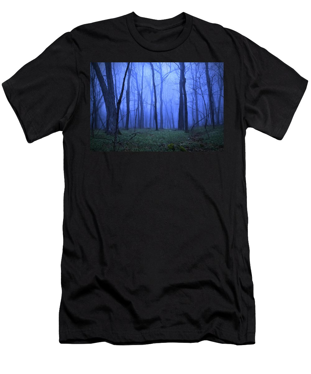 Forest Men's T-Shirt (Athletic Fit) featuring the painting Twilight Woods by Vicki France
