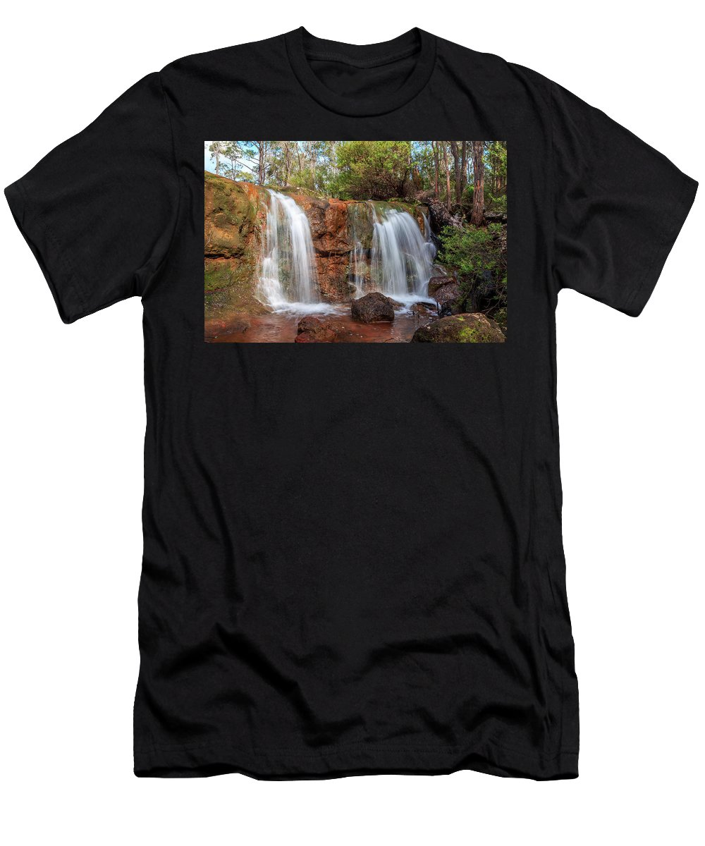 Waterfalls Men's T-Shirt (Athletic Fit) featuring the photograph Twin Falls At Ironstone Gully by Robert Caddy