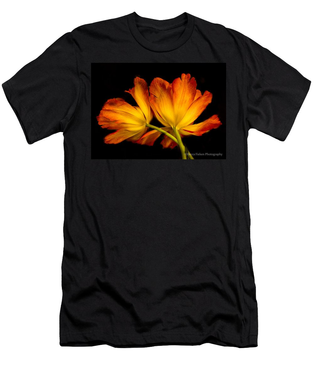 Tulip Men's T-Shirt (Athletic Fit) featuring the photograph Twin Tulips by Becca Fieken