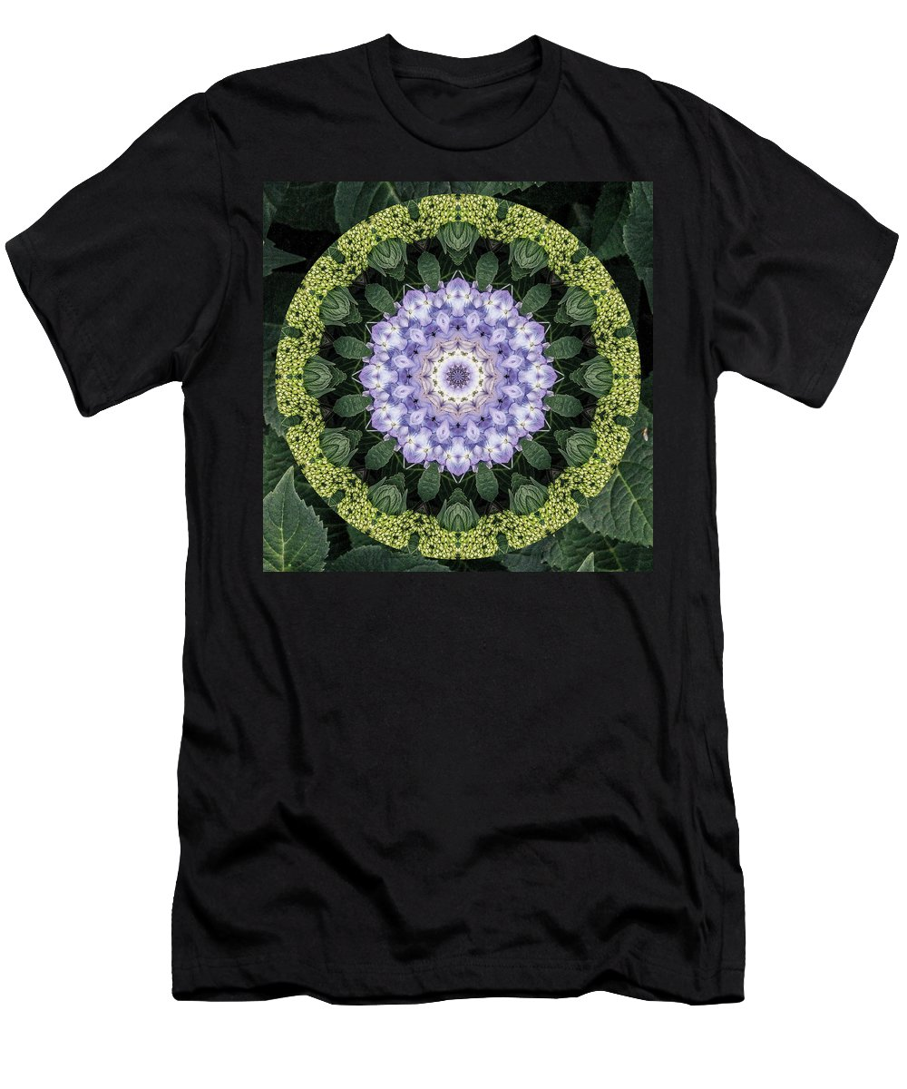 Purple Men's T-Shirt (Athletic Fit) featuring the digital art Twirly Hydrangea by Chellie Bock