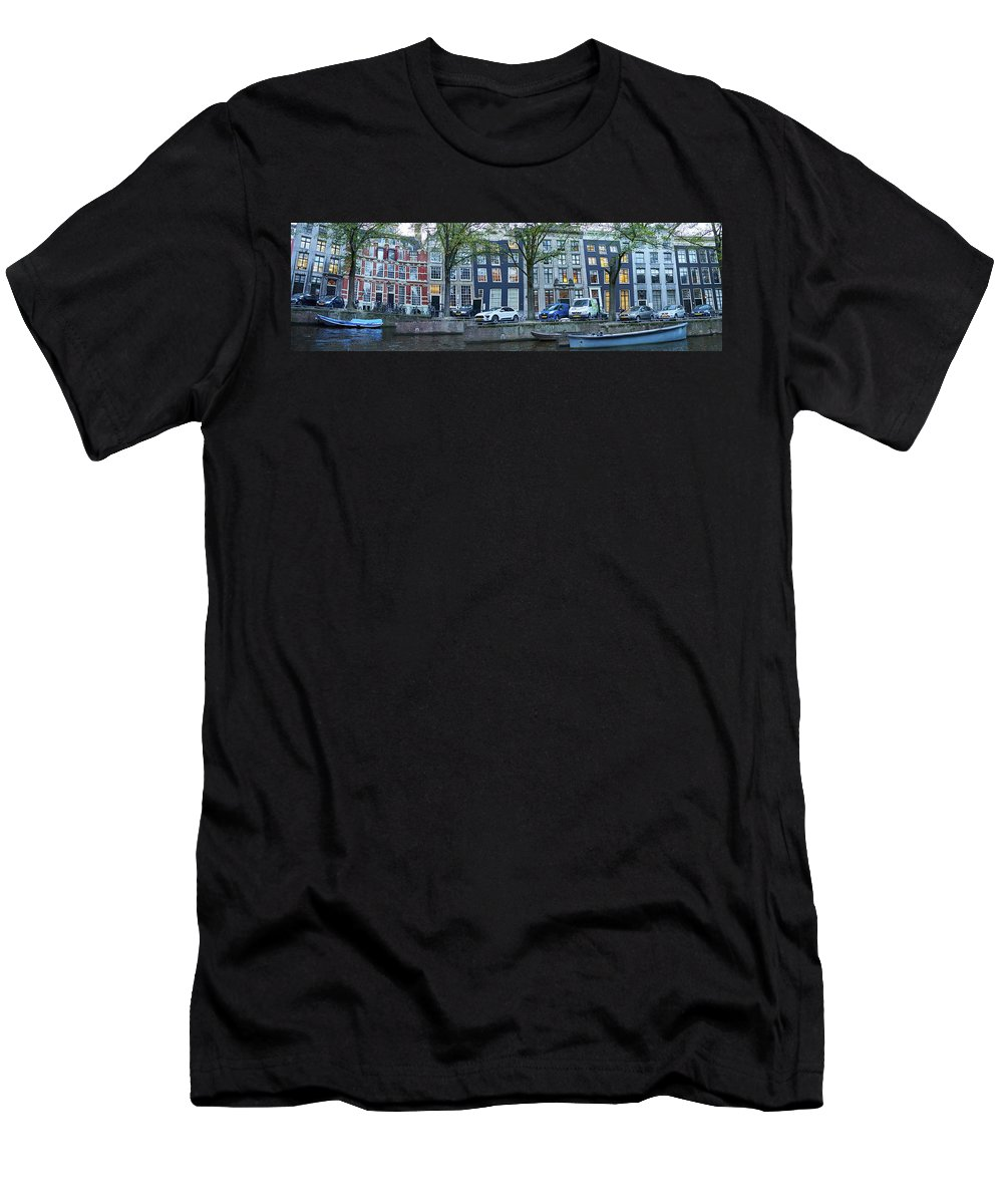 Finland Men's T-Shirt (Athletic Fit) featuring the photograph Twisted Panorama. Amsterdam by Jouko Lehto