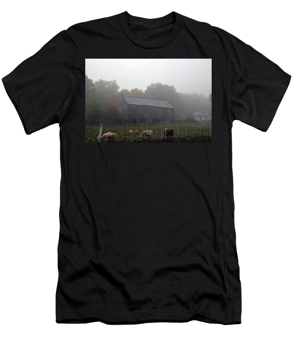 Barns Men's T-Shirt (Athletic Fit) featuring the photograph Two Barns by George Elliott