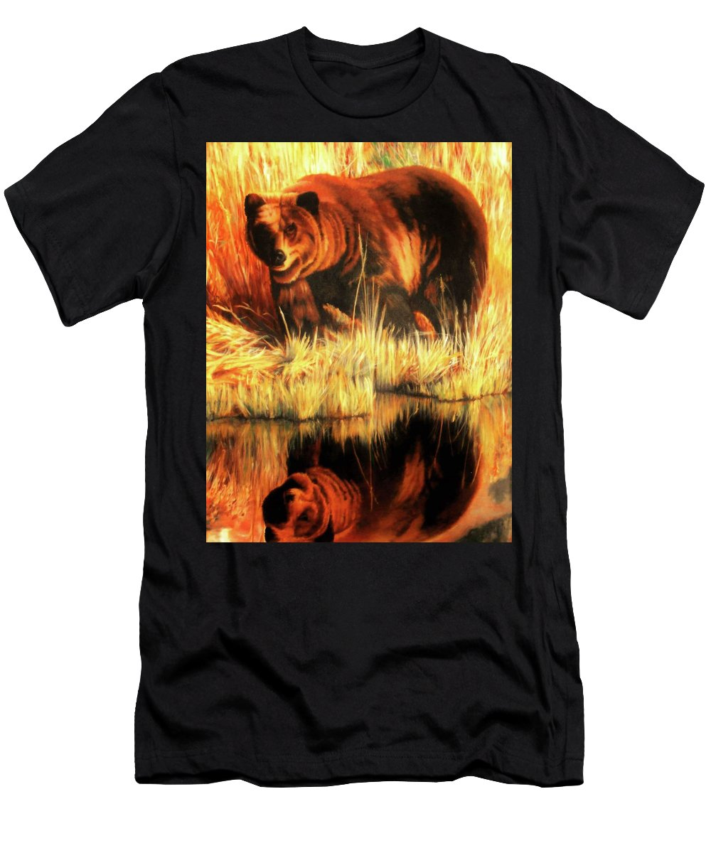 Bears Men's T-Shirt (Athletic Fit) featuring the painting Two Bears by DC Houle