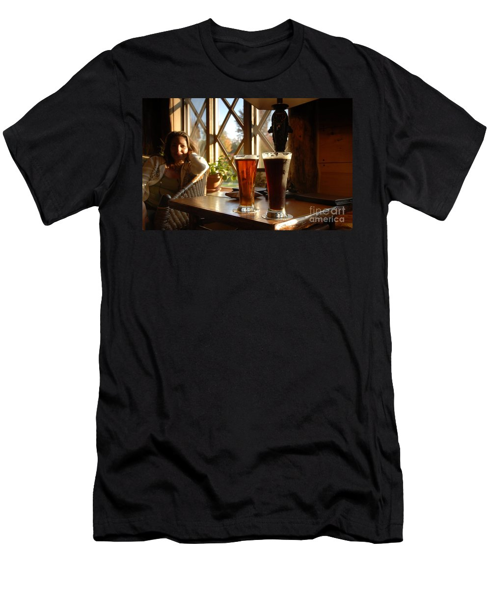 Beer Men's T-Shirt (Athletic Fit) featuring the photograph Two Beers At The Lodge by David Lee Thompson