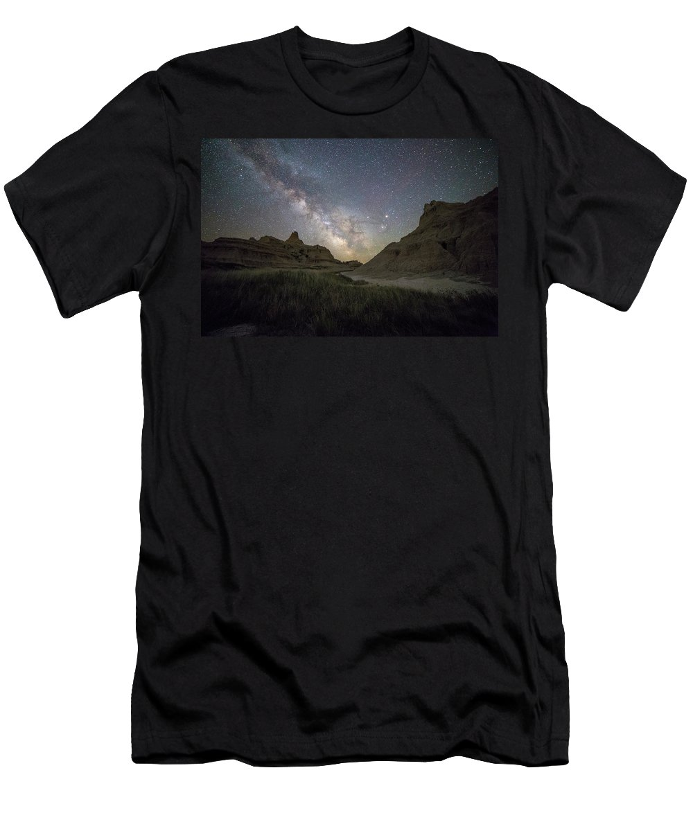 Milkyway Men's T-Shirt (Athletic Fit) featuring the photograph Two Buttes And A Beaut by Aaron J Groen