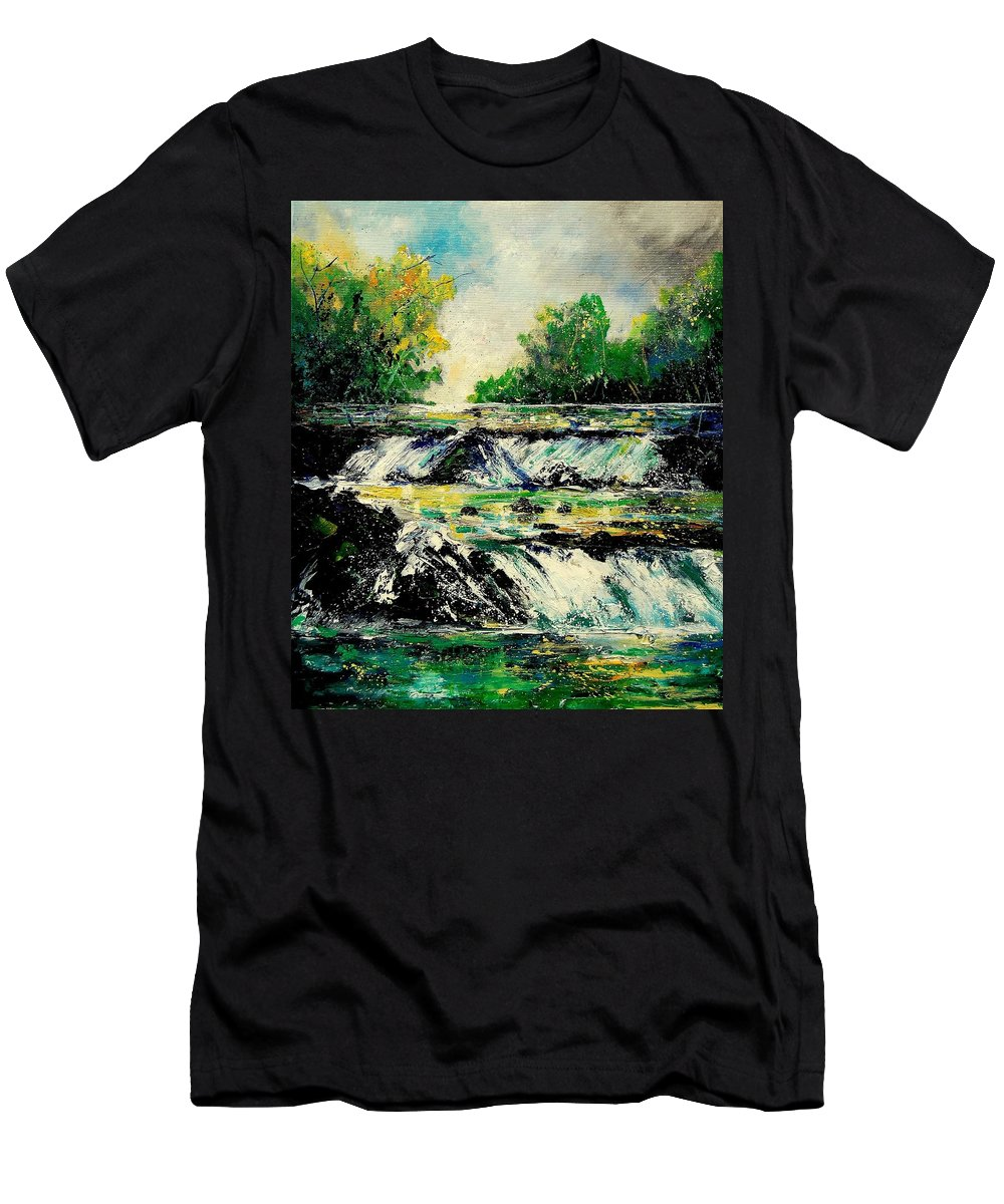 River Men's T-Shirt (Athletic Fit) featuring the painting Two Falls by Pol Ledent