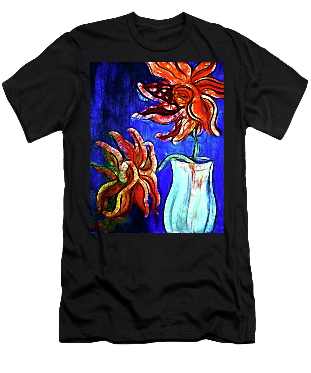 Vase Flower Flower Vase Pot Flowers Sunflwers Orange Blue Complimentary Colors Color Colorful Flower Prints Canvas Painting Flower Painting Flower Digital Men's T-Shirt (Athletic Fit) featuring the photograph Two Flowers With Vase by Lisa Stanley