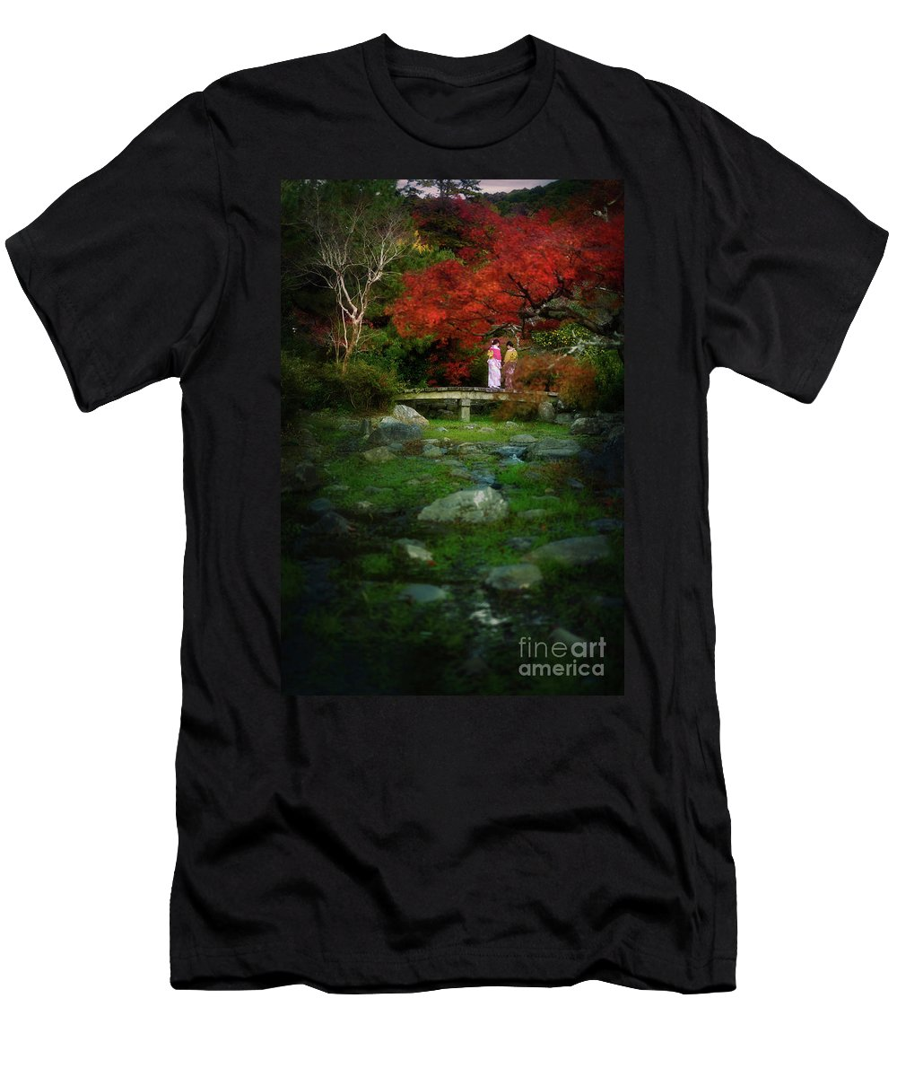 Yukata Men's T-Shirt (Athletic Fit) featuring the photograph Two Girls In Kimono Standing On A Bridge In Japanese Garden In A by Awen Fine Art Prints