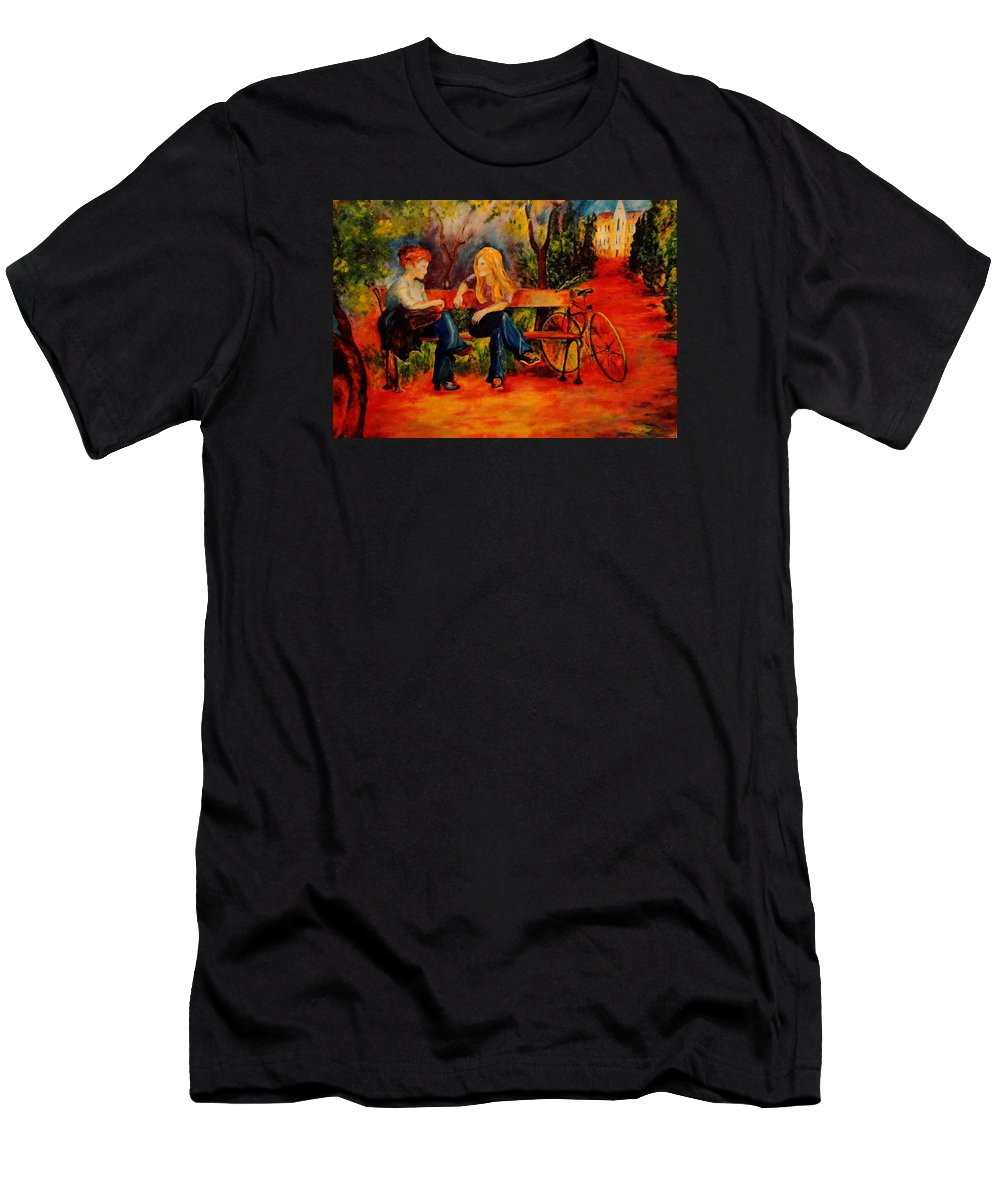 Two Girls T-Shirt featuring the painting Two Girls with a Byke by Dagmar Helbig