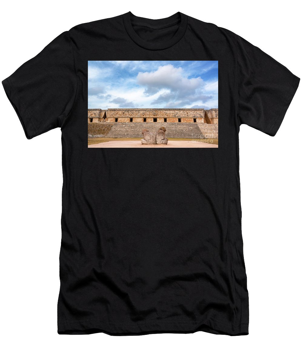 Mexico Men's T-Shirt (Athletic Fit) featuring the photograph Two Headed Statue And Governors Palace by Jess Kraft