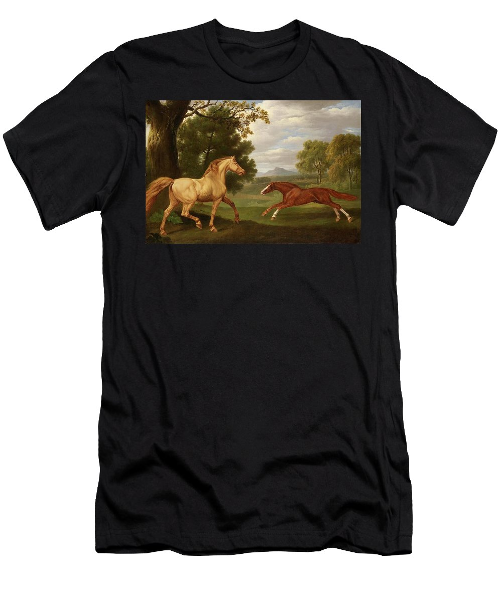 Charles Towne Men's T-Shirt (Athletic Fit) featuring the painting Two Horses In A Landscape by Charles Towne