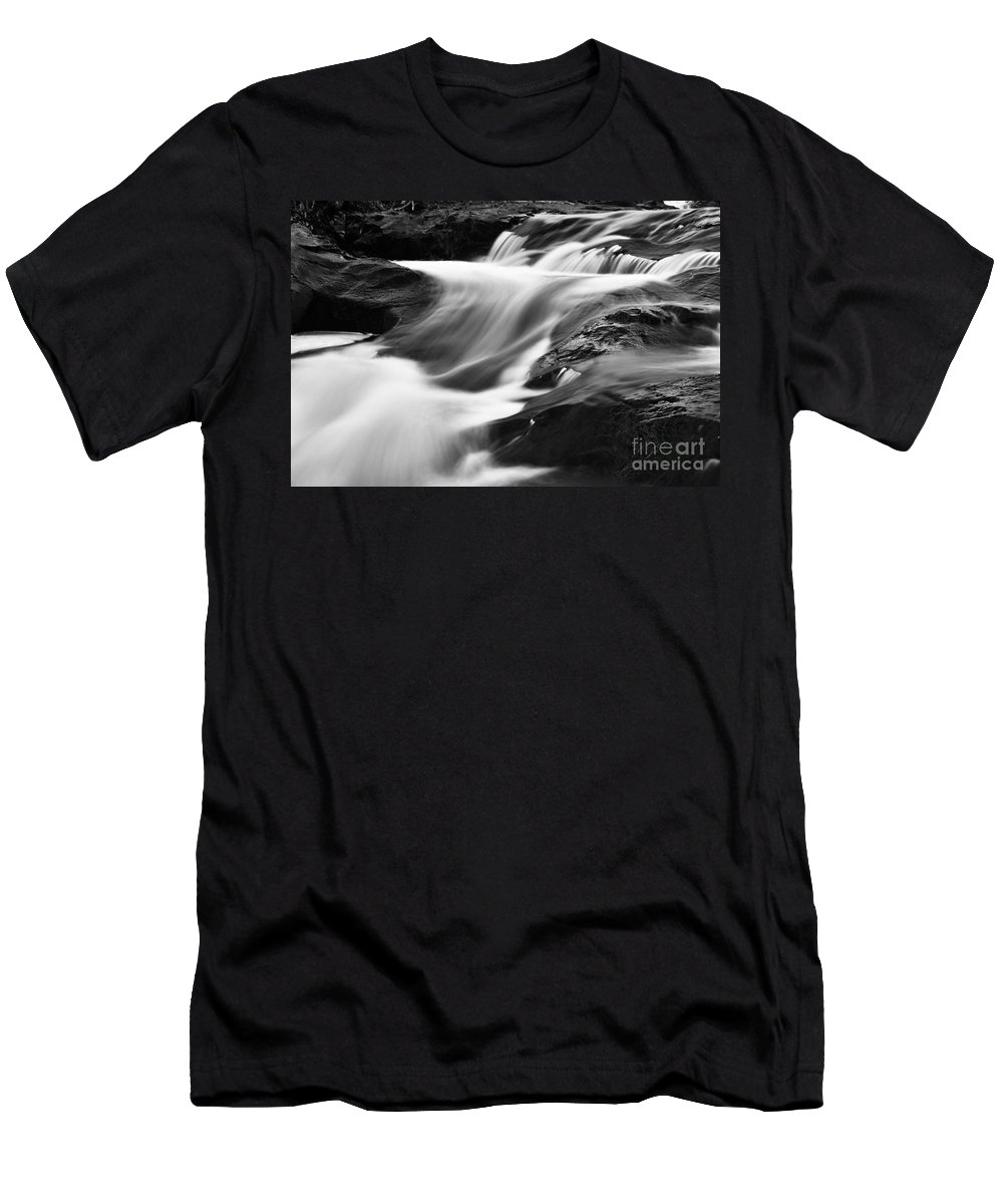 Photography Men's T-Shirt (Athletic Fit) featuring the photograph Two Island River Cascade by Larry Ricker