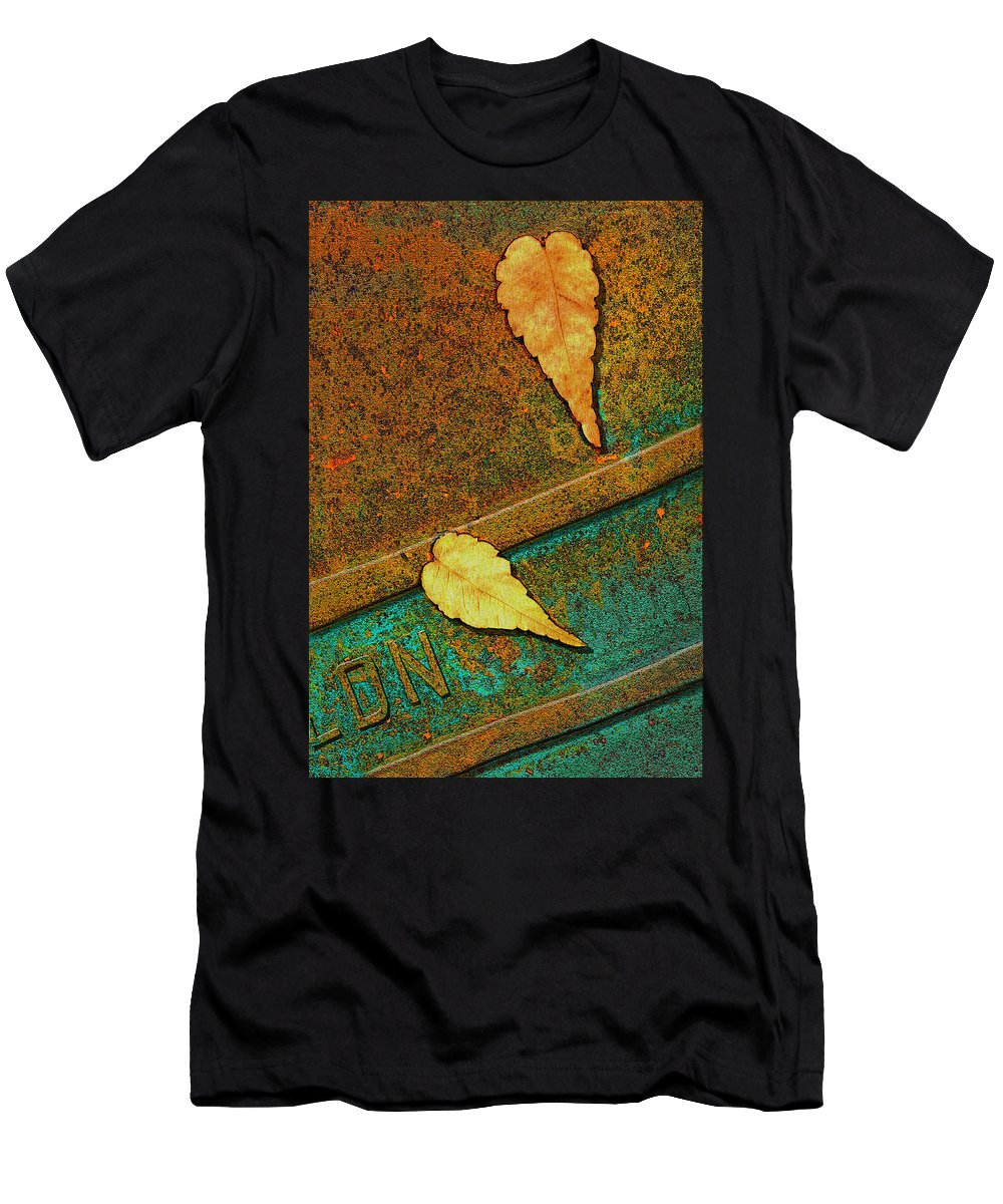 Bus Stop Men's T-Shirt (Athletic Fit) featuring the photograph Two Leaves Or Not Two Leaves by Paul Wear