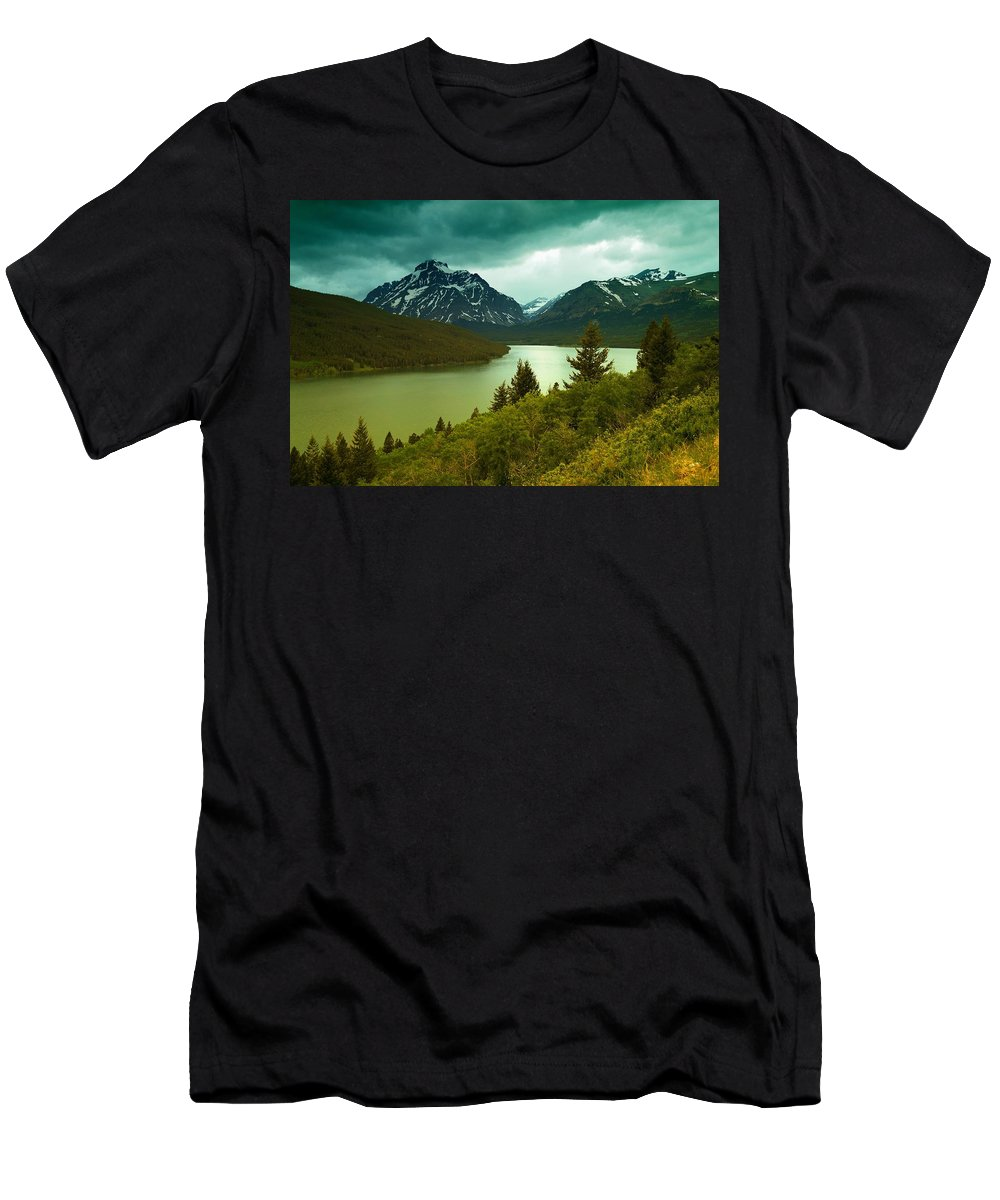 Mountains Men's T-Shirt (Athletic Fit) featuring the photograph Two Medicine by Jeff Swan