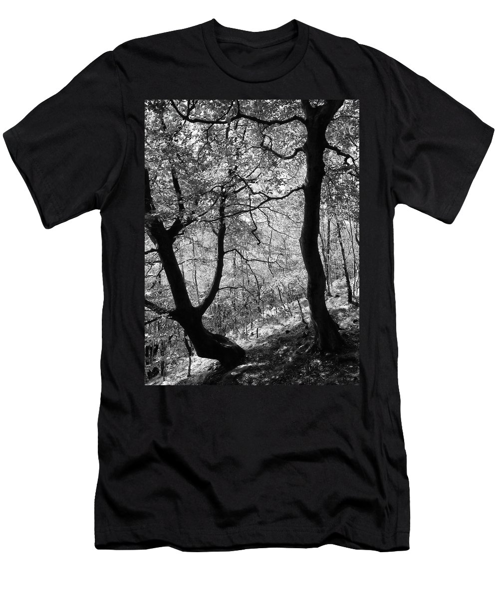 Trees Men's T-Shirt (Athletic Fit) featuring the photograph Two Monochrome Tress by Philip Openshaw