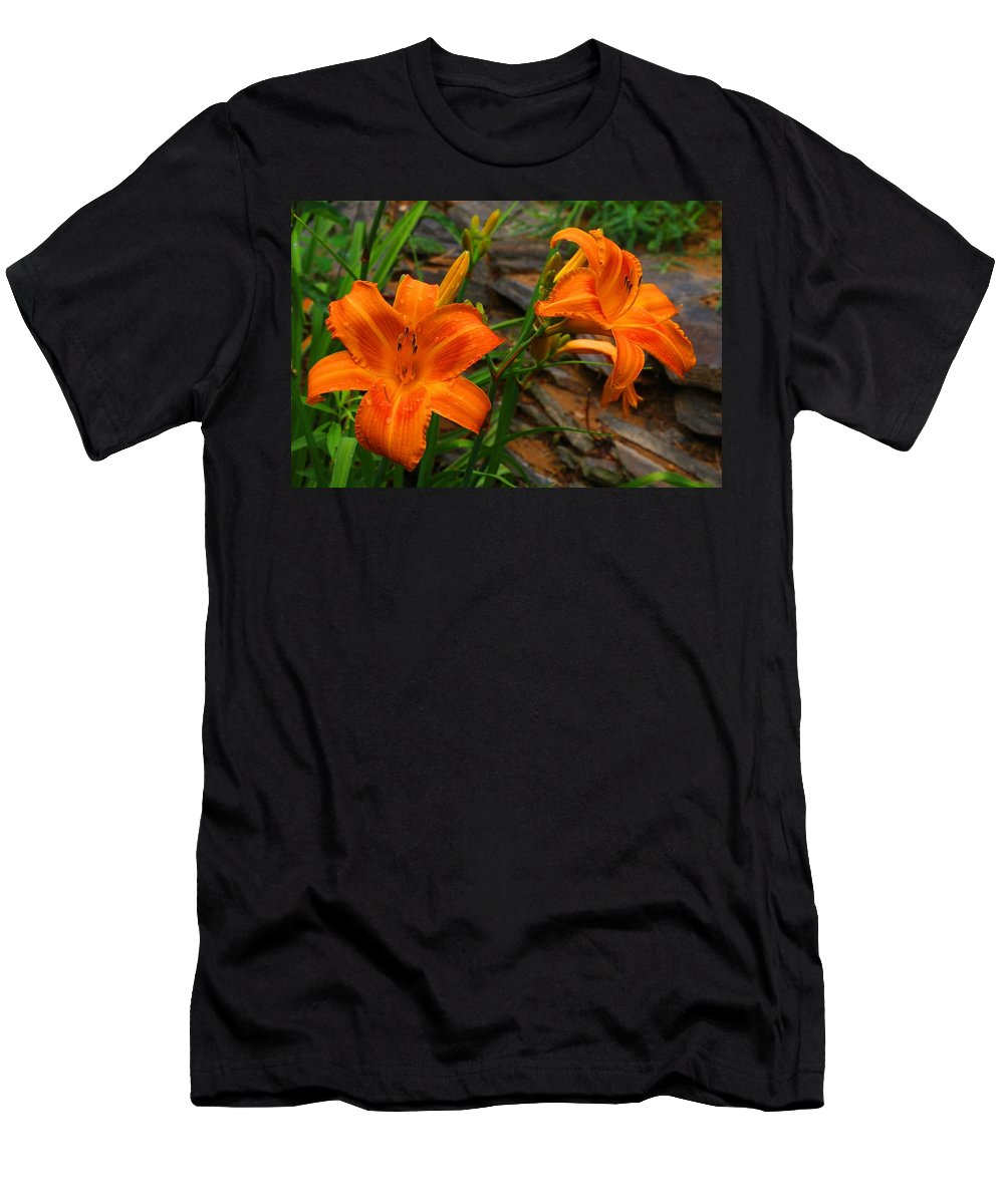Daylilies Men's T-Shirt (Athletic Fit) featuring the photograph Two Orange Daylilies by Kathryn Meyer