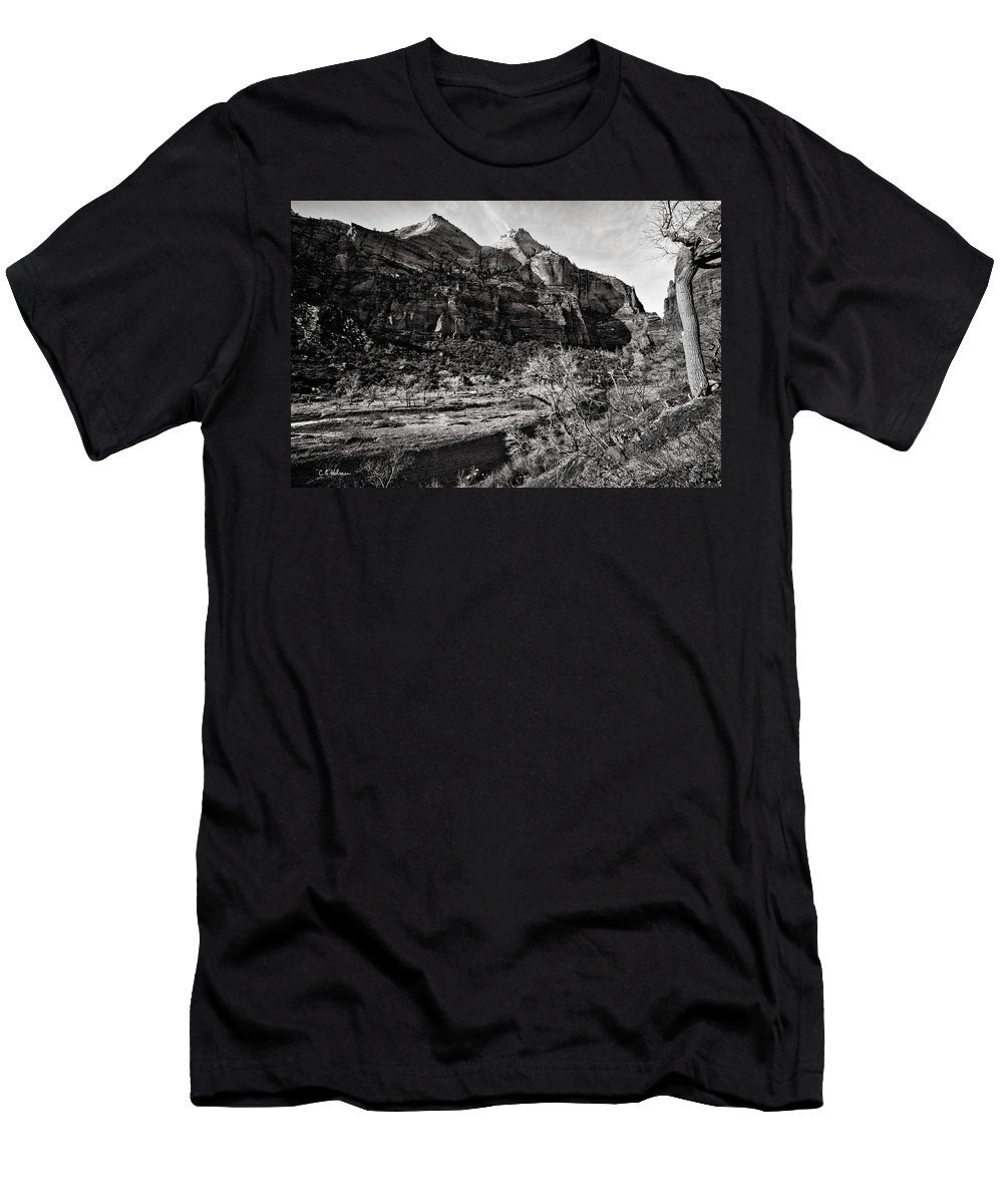 Art Photograph Men's T-Shirt (Athletic Fit) featuring the photograph Two Peaks - Bw by Christopher Holmes