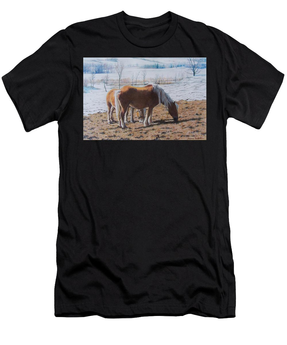 Horses Men's T-Shirt (Athletic Fit) featuring the mixed media Two Ponies In The Snow by Constance Drescher