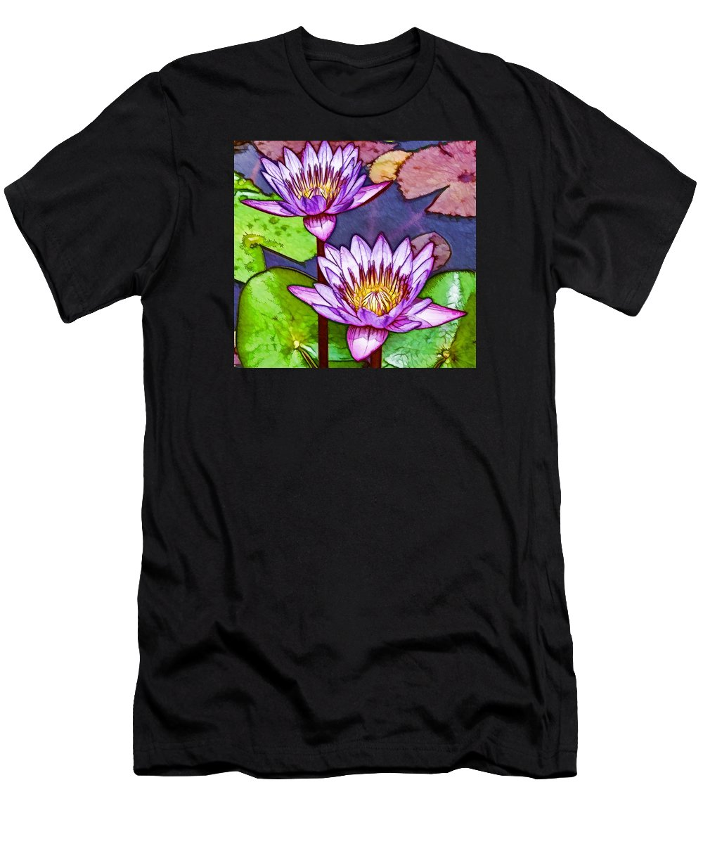 Pink Lotus Flower Men's T-Shirt (Athletic Fit) featuring the painting Two Purple Lotus Flower by Jeelan Clark