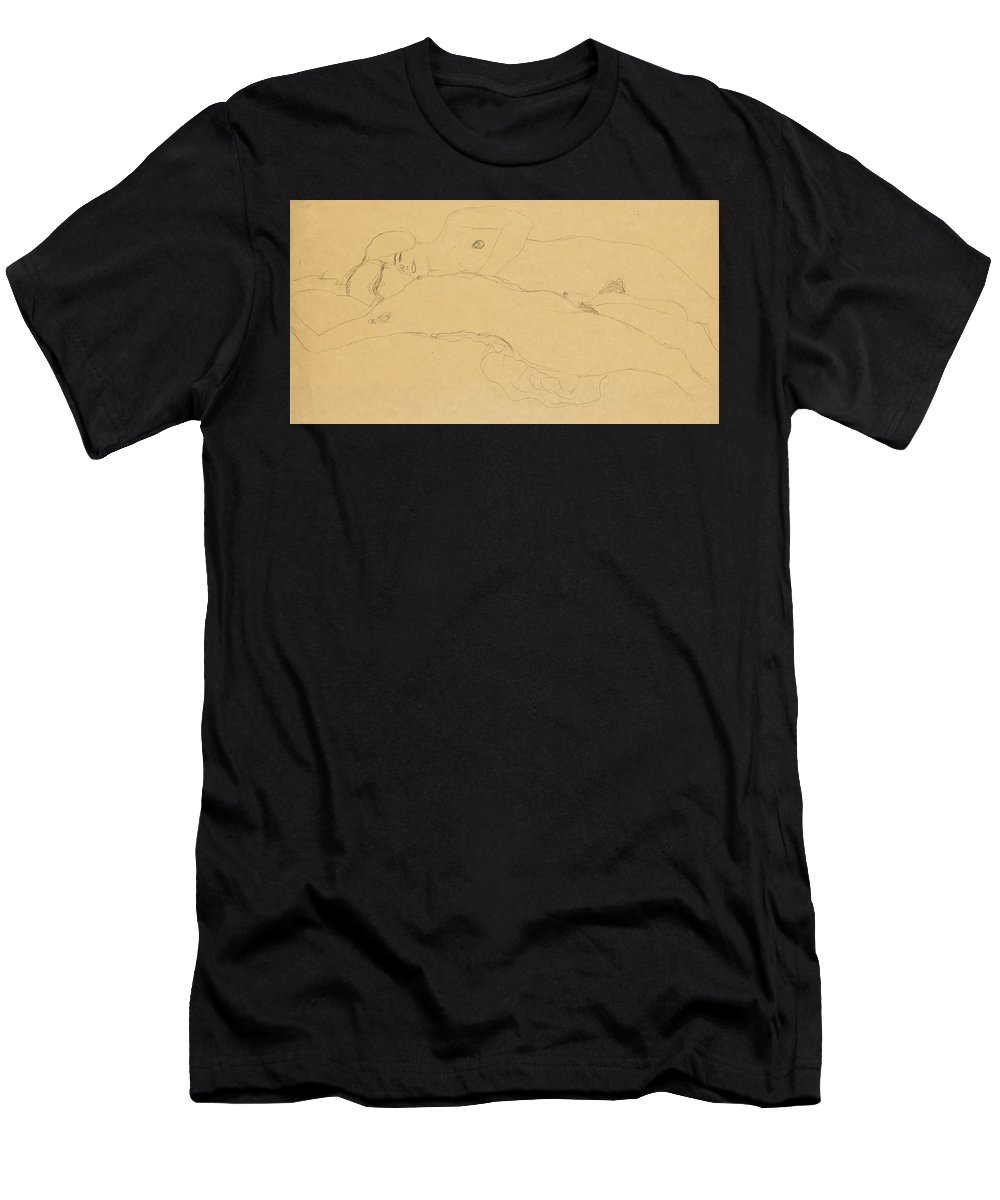 Gustav Klimt Men's T-Shirt (Athletic Fit) featuring the drawing Two Reclining Girls by Gustav Klimt