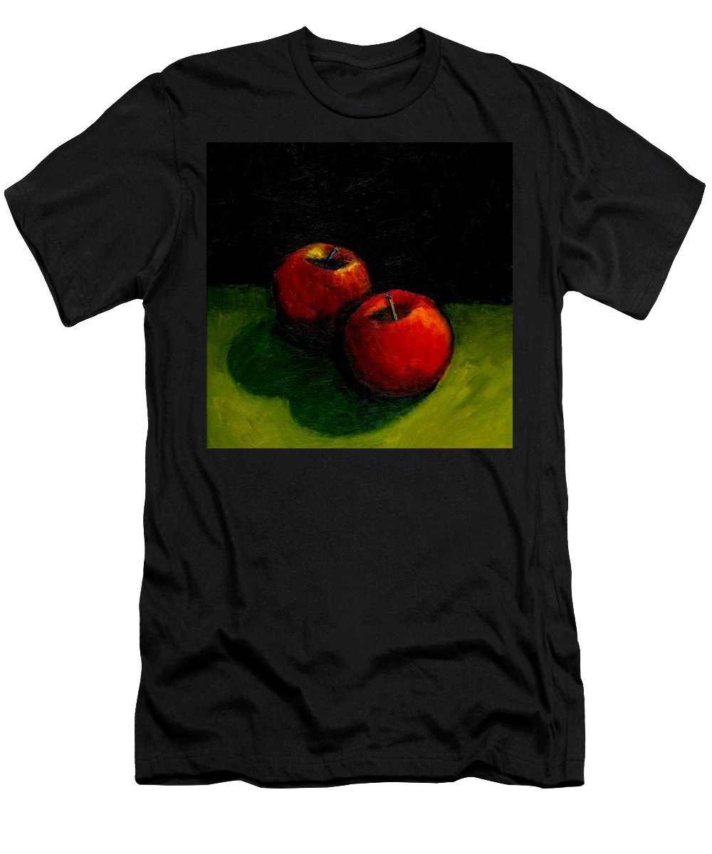 Red Men's T-Shirt (Athletic Fit) featuring the painting Two Red Apples Still Life by Michelle Calkins